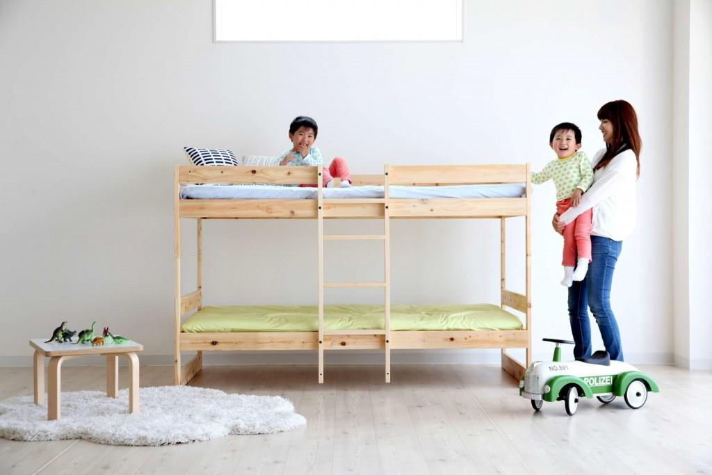 二段ベッド,木製,シンプル,すのこベッド