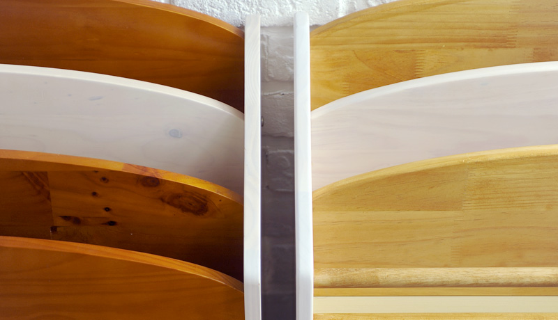 ツートンカラーのブラウン部分の色がよりナチュラルな雰囲気の やさしいカラーになりました。
