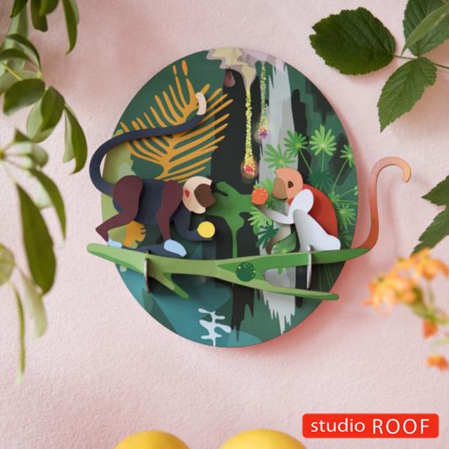 studio ROOF スタジオルーフ 壁掛けペーパークラフト 動物 サル